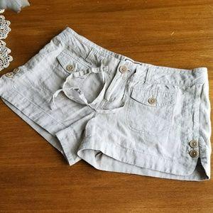 Juicy Couture 100% linen khaki shorts